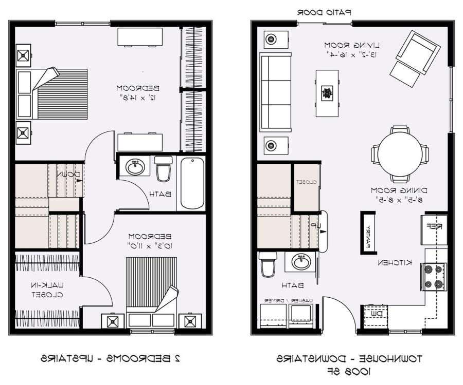 Townhouse plans with photos Two bedroom townhouse plans