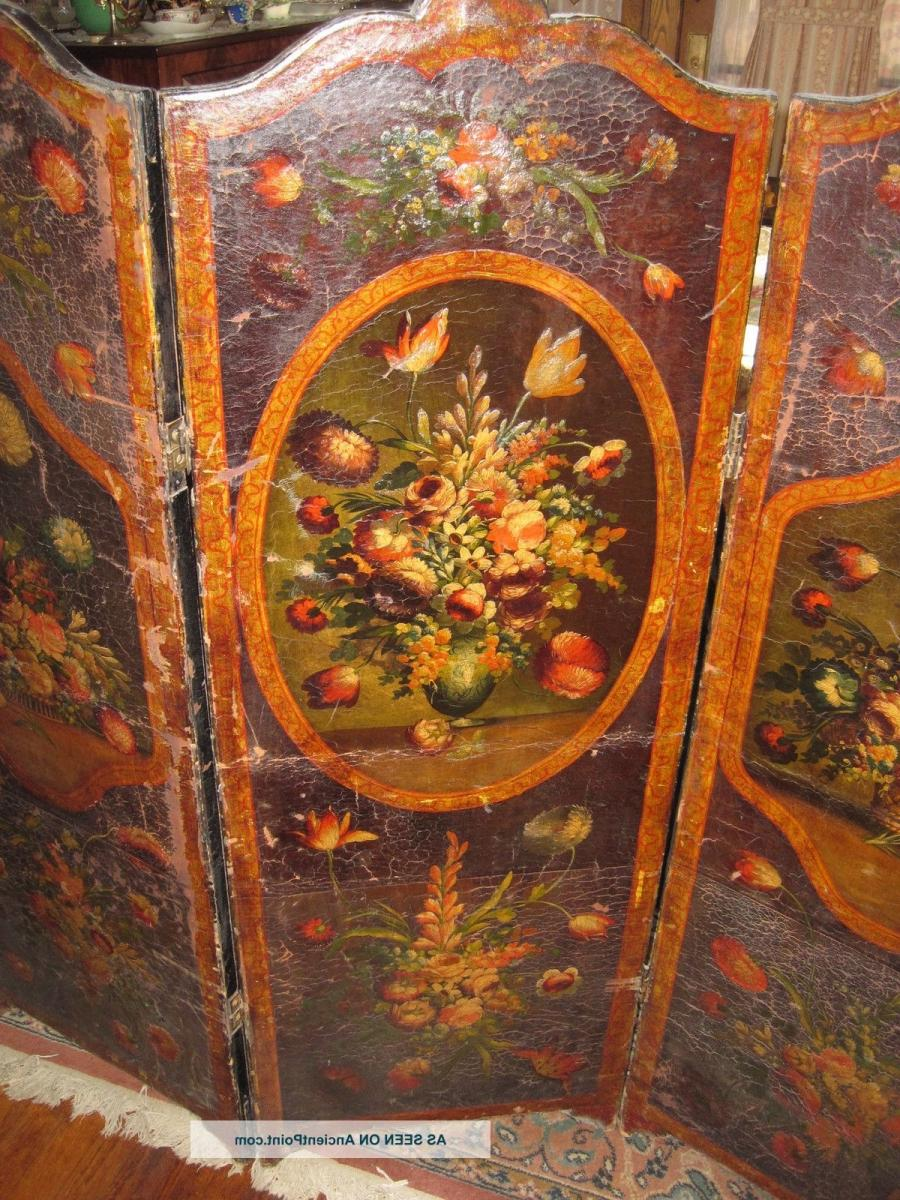 Antique Asian Room Divider Hand Painted