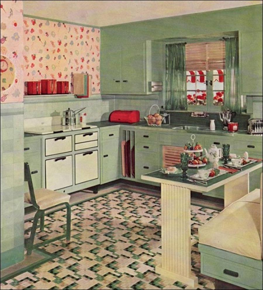 Vintage Kitchen Style And Design In Mint Green Nuance With Mozaic...