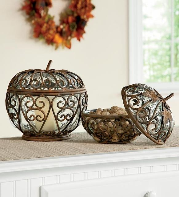 Small and Large Iron  Glass Pumpkins modern-holiday-decorations