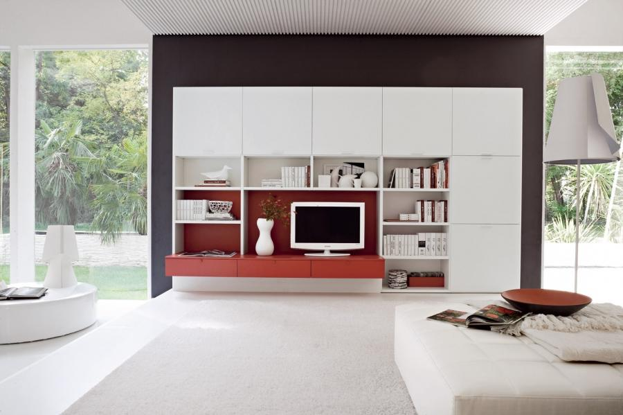 Shiny Interior Living Room With Red Accent For Design Reference