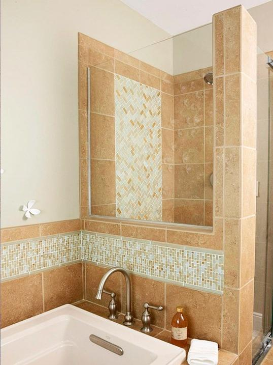 Glass tile also mixes beautifully with other tile products...