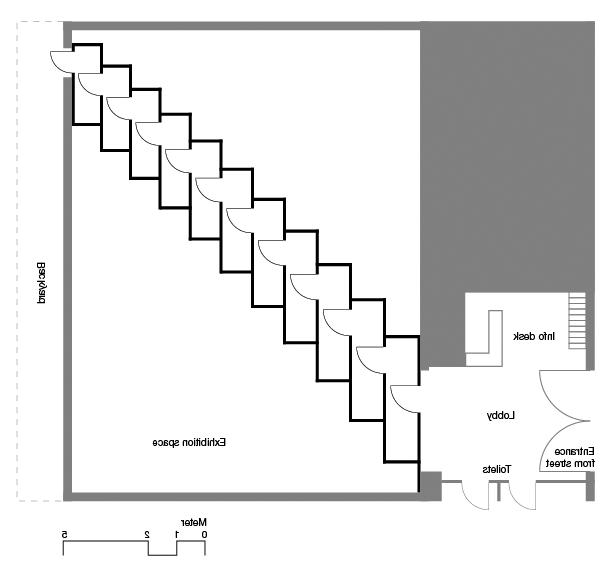 Layout of the installation of the work at IKON Eastside. The grey...