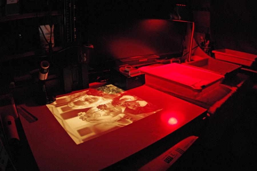 A photographic darkroom with safelight
