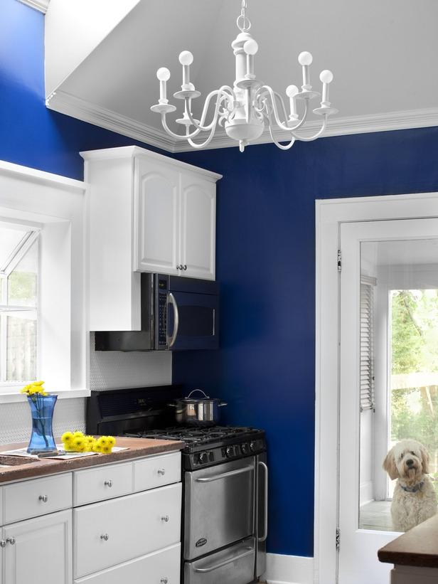 Deep Blue Walls and Crisp White Cabinets and Stainless Steel