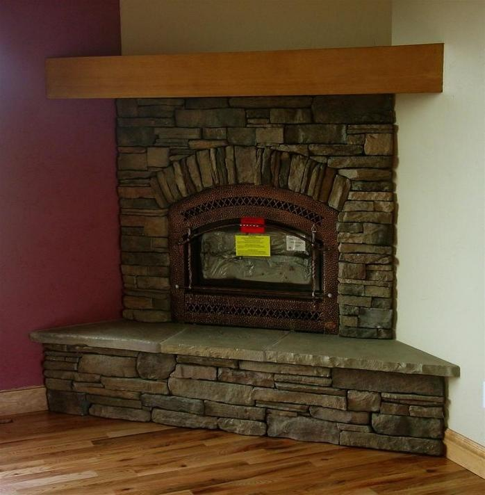 Design tile inserts photos Corner rock fireplace designs