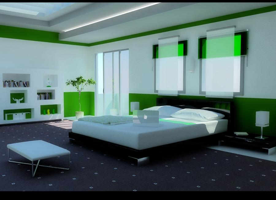 A green bedroom with a grand skylight. Designed by Zigshot82