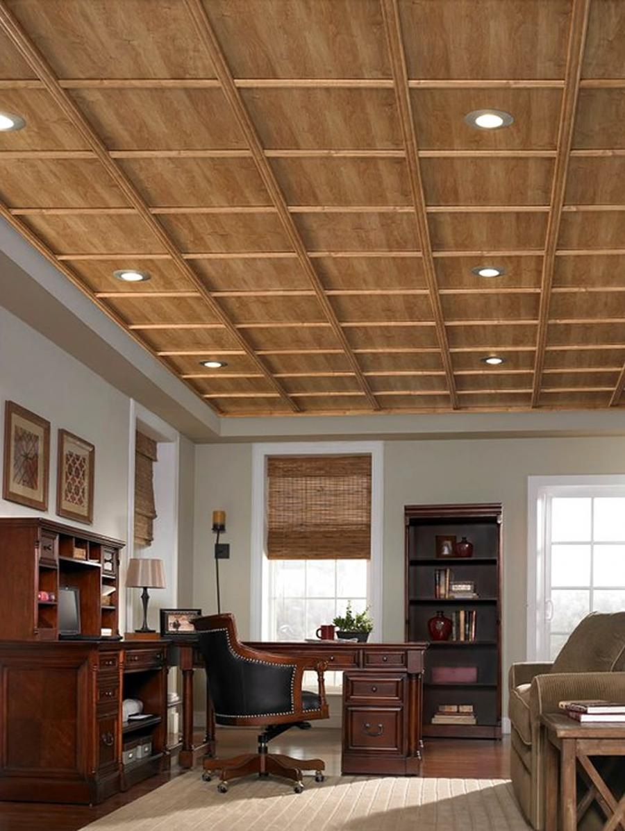Home Office Interior Design with Woodtrack Ceiling System by...