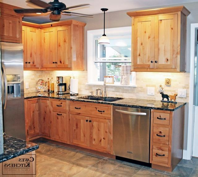 Rustic Knotty Alder Kitchen with Weathered Beams rustic-kitchen