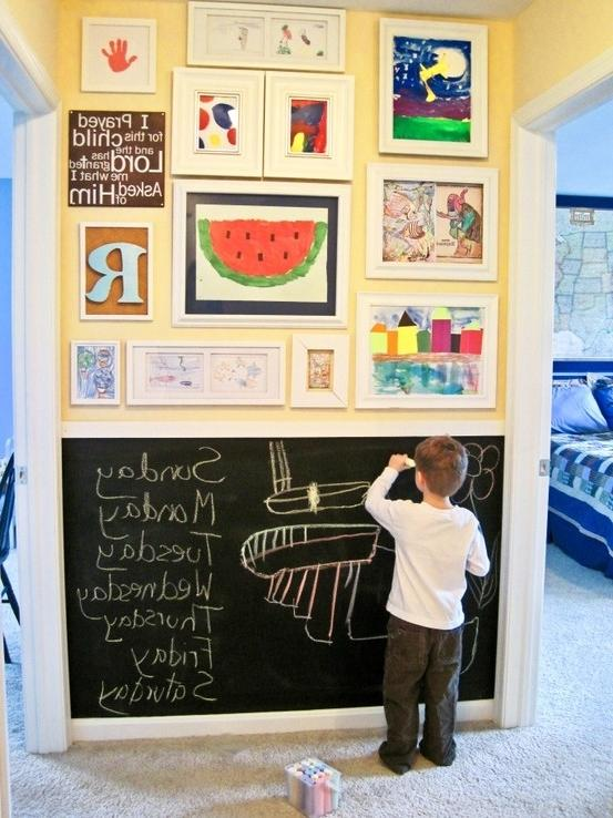 Kids Hallway. Half chalkboard wall. Half artwork display. LOVE....