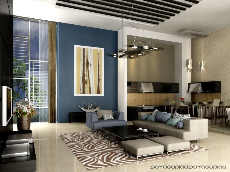 Modern Fresh Blue Interior Combined With Creamy And Brown...