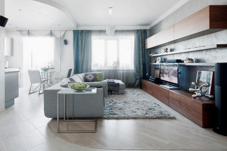 The modern and stylish interior in neutral colors. The apartment...