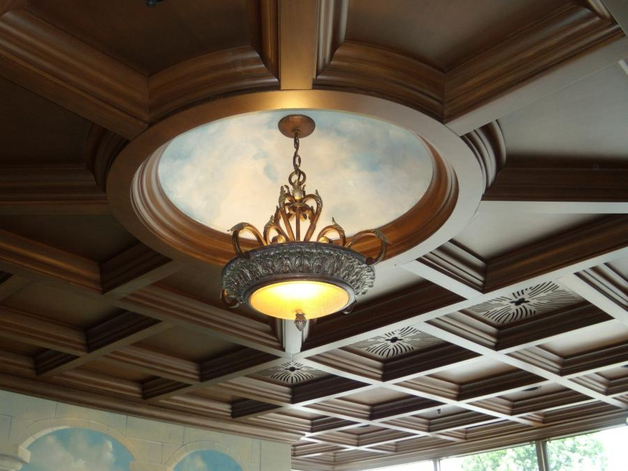 Wood Coffered Ceiling with Circle