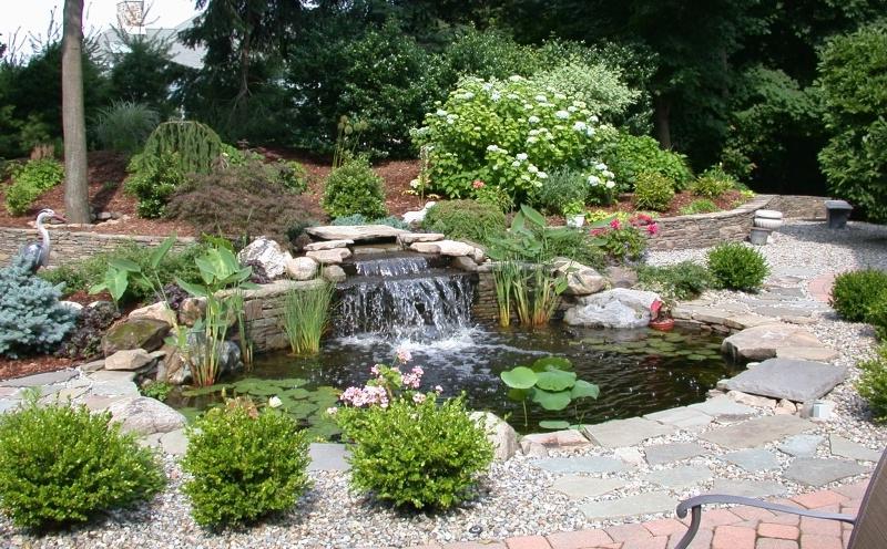 Garden ponds and waterfalls photos for Garden pond gravel