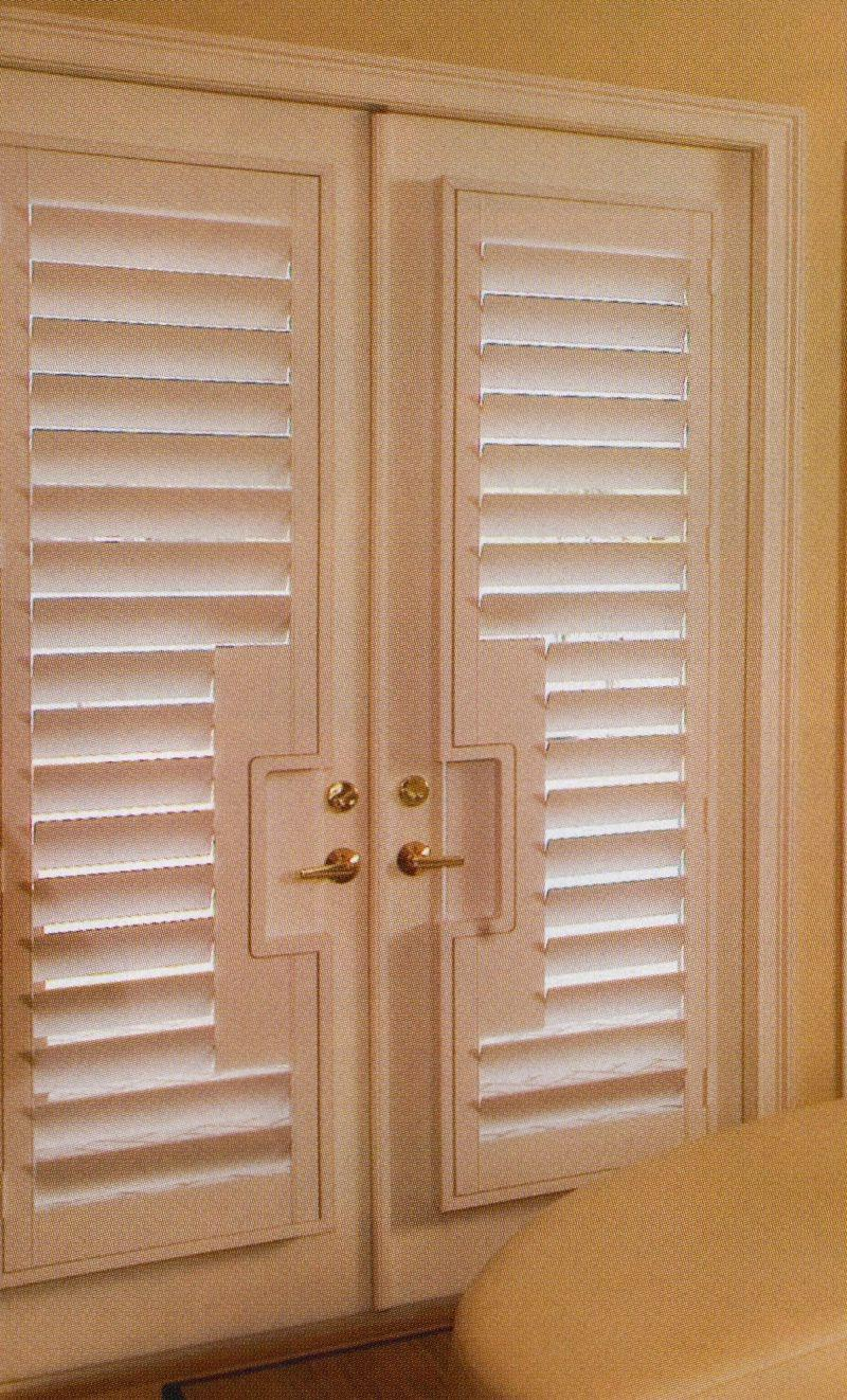 Wood Shutter w lever handle cut-out 2