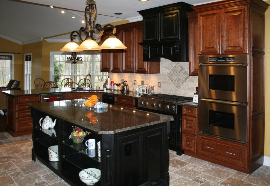 Photos of kitchens with cherry cabinets for Cheap kitchen cabinets st louis