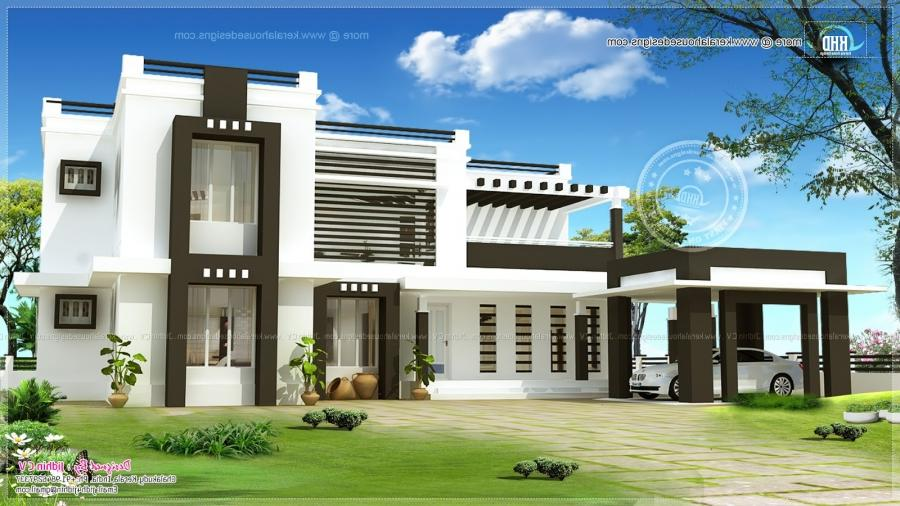 Flat roof home design. Facilities in this house