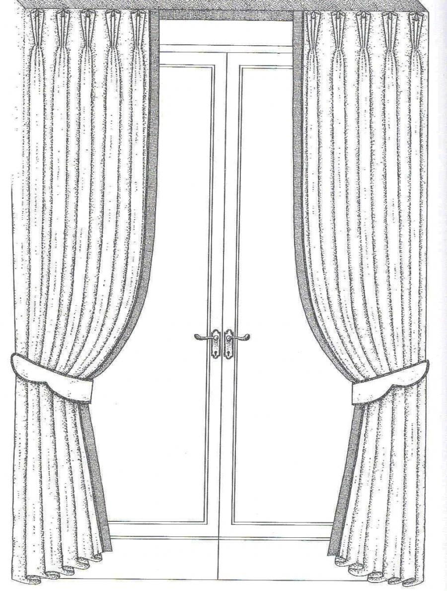 The drapes are pinched in three folds (occasionally two folds are...