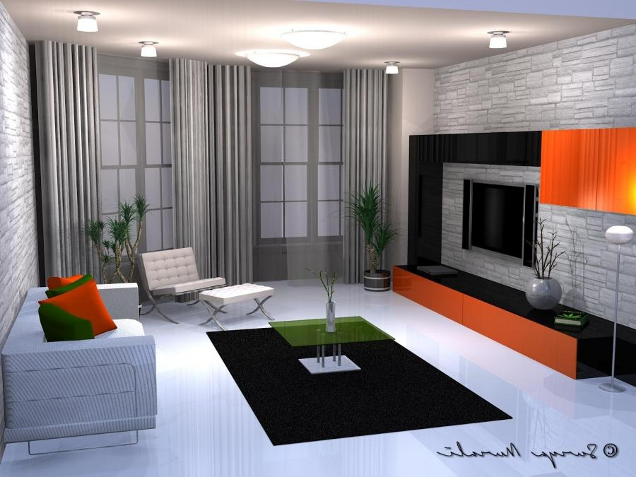 A lounge done up in with just 4 colors - Black, white, green and...