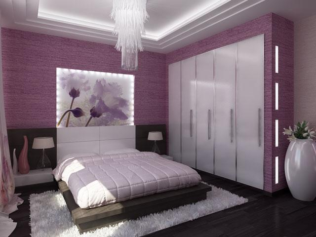 modern bedroom purple home 3d interior design idea