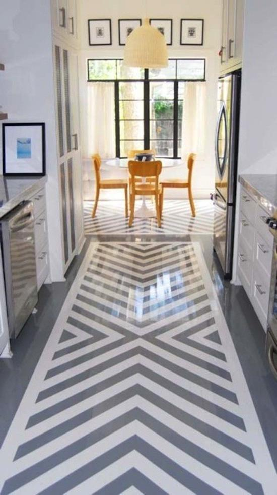 Consider a strong carpet or tile pattern in the kitchen that...