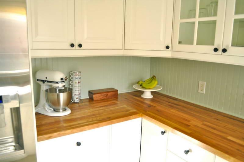 Ikea butcher block countertops wit wood walls