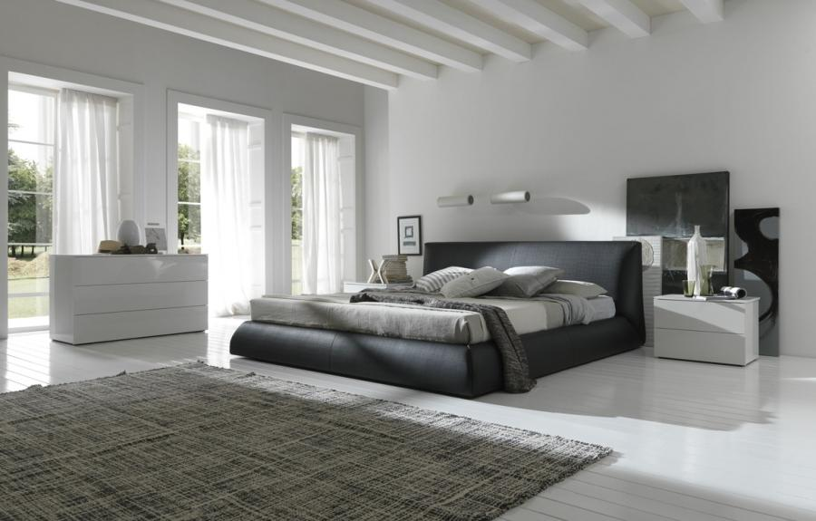 White Bedroom Design Interior With Black Bed listed in: