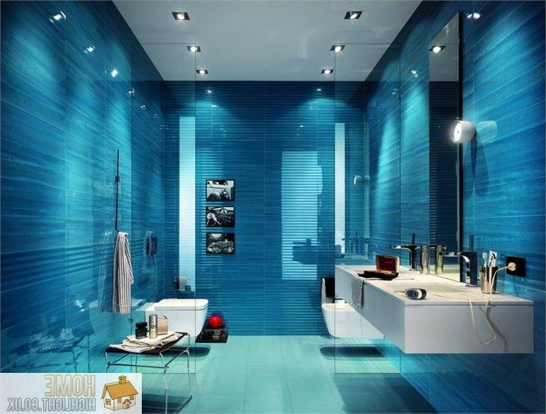 A variety of blue and turquoise tiles coupled with sleek modern...