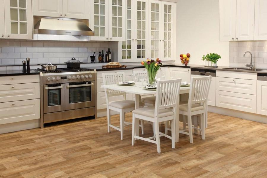 Beige Vinyl Kitchen Flooring