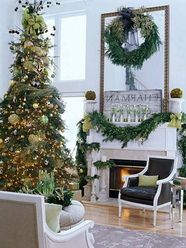 Interior, Christmas Fireplace Living Room Decorating Ideas Under...