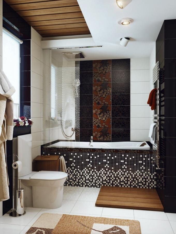 Brown and white bathroom photos for Black and brown bathroom ideas