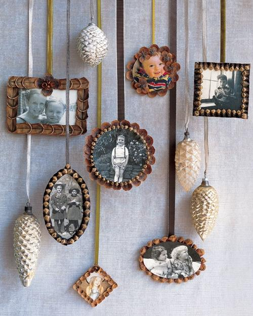 Pinecone Picture-Frame Ornaments