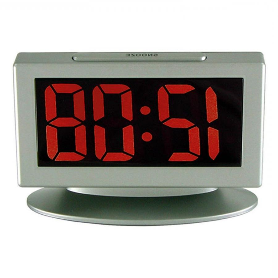 Advance Time Technology LED Alarm Clock with Red Display, Grey