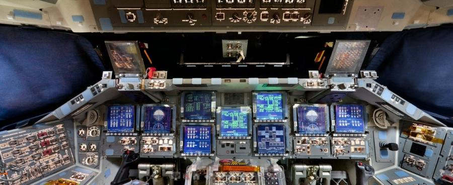 Interior photos of space shuttle
