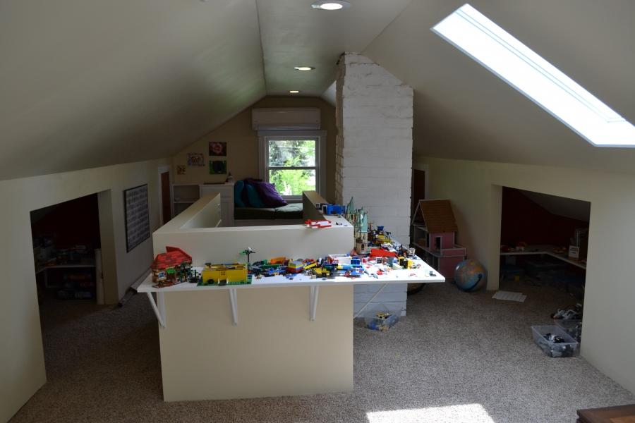 The western end of the finished attic, that holds the Lego...