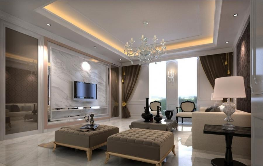 Classic Living Room 3d Design with White Wall and Beautiful...
