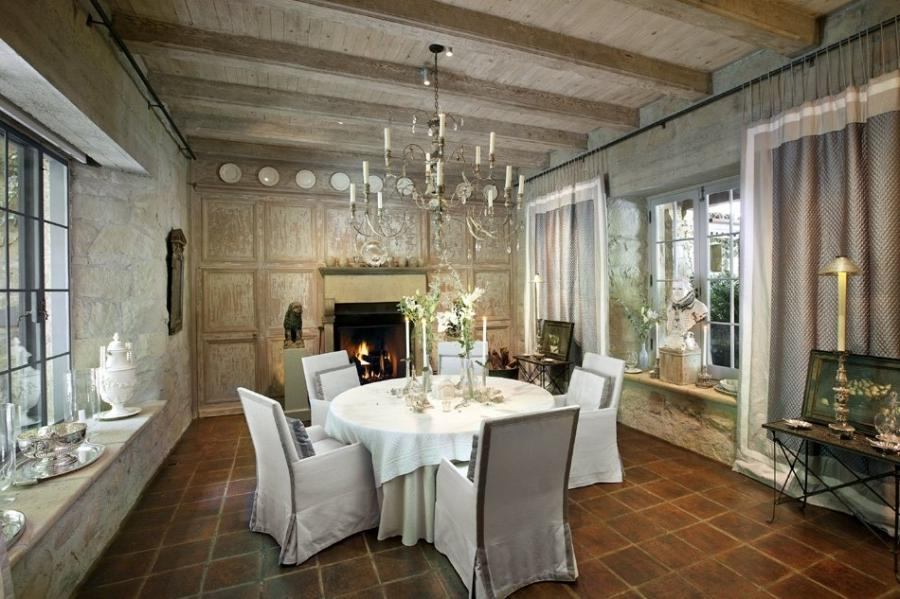 Classical Chandelier As Beam Ceiling Hanging Above White Rounded...
