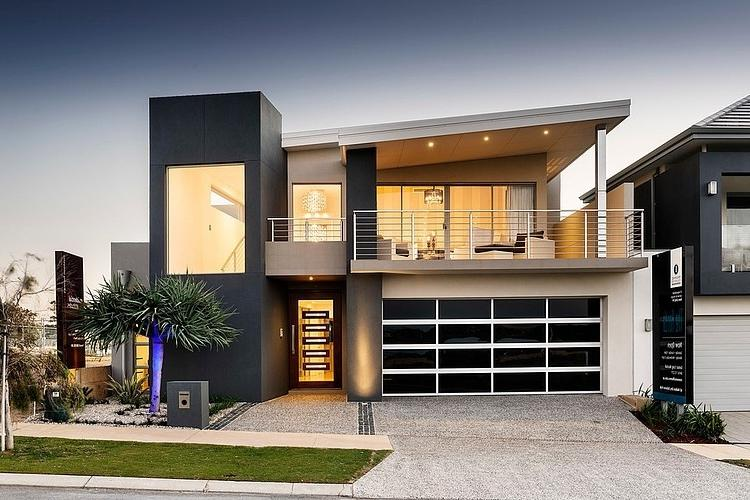 Modern Facade View Mizu Home Outside View with Glass Garage Door...