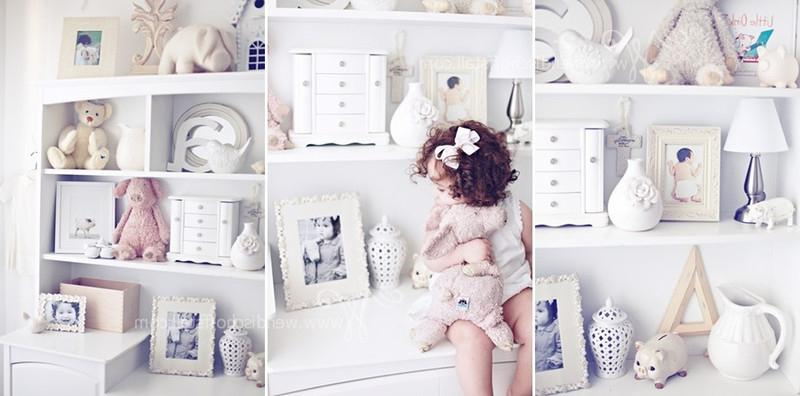 This collage of dreamy white room accessories for a toddler girl...