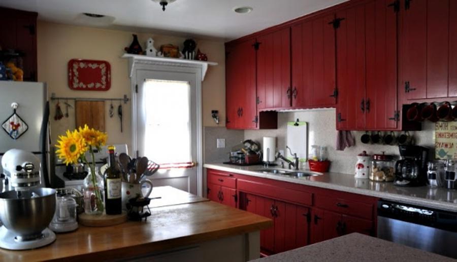 red kitchen cabinets photos. Black Bedroom Furniture Sets. Home Design Ideas