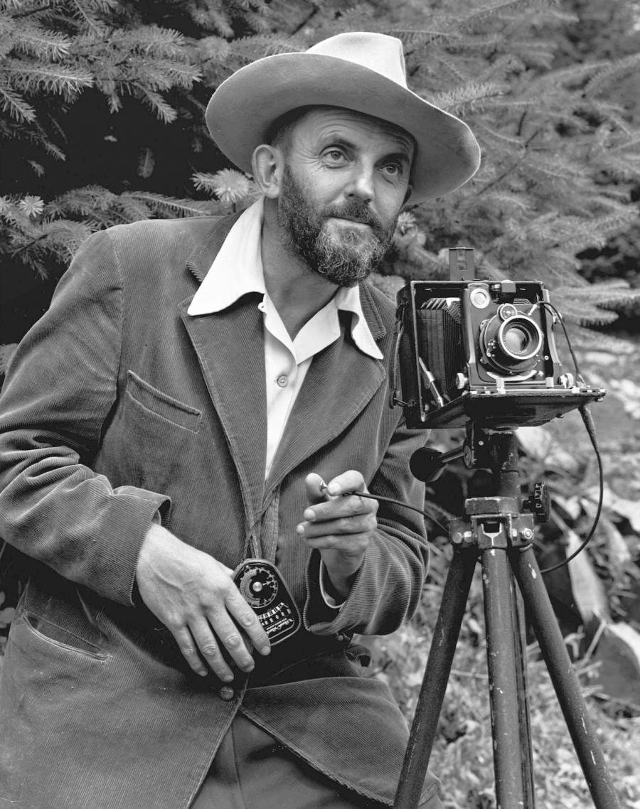 A photo of a bearded Ansel Adams with a camera on a tripod and a...