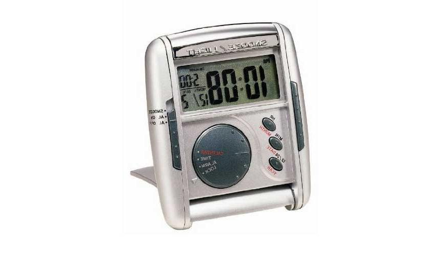 Seiko Travel Alarm Glow and Get Up Alarm Clock in Silver Metallic...