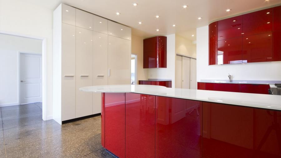 fantastic kitchen in red glass material listed in kitchen idea