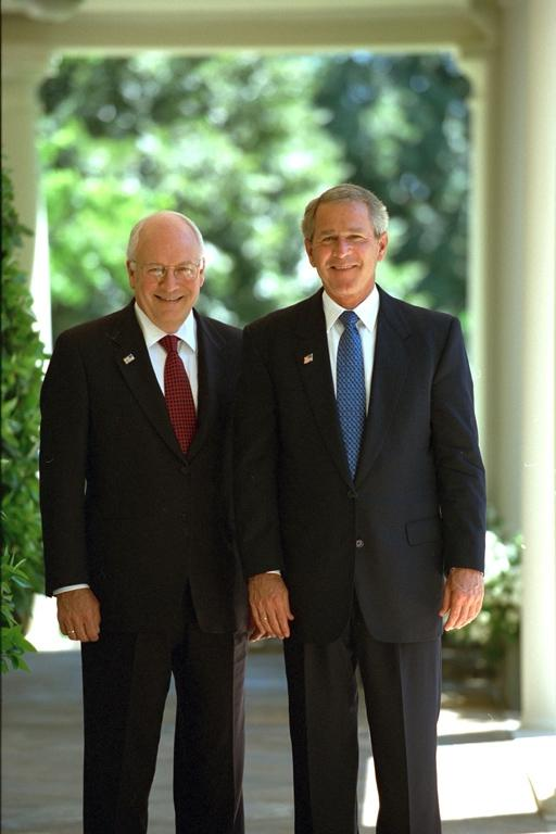 President George W. Bush and Vice President Dick Cheney on the...