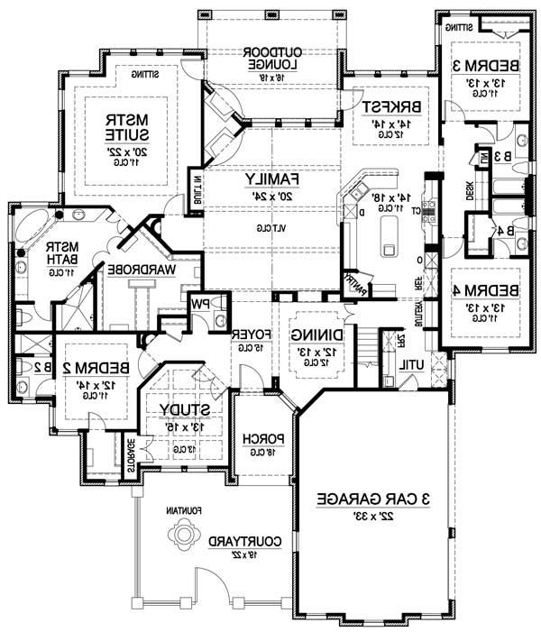 One Story Luxury Home Plans