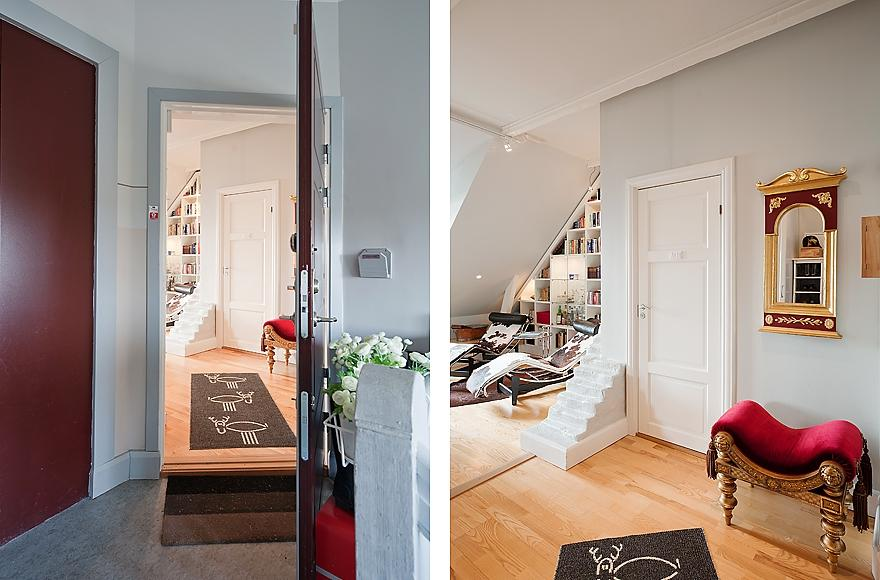 House Tours : Red White Black Hallway Design. Stockholm Attic...
