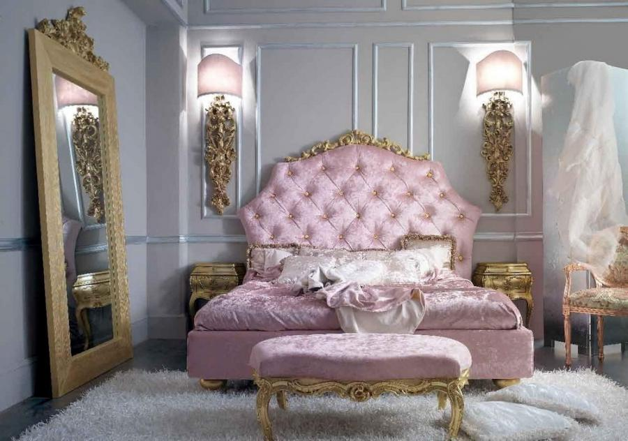 Pink Based Classic French Bedroom Design With Mirror And Area Rug...
