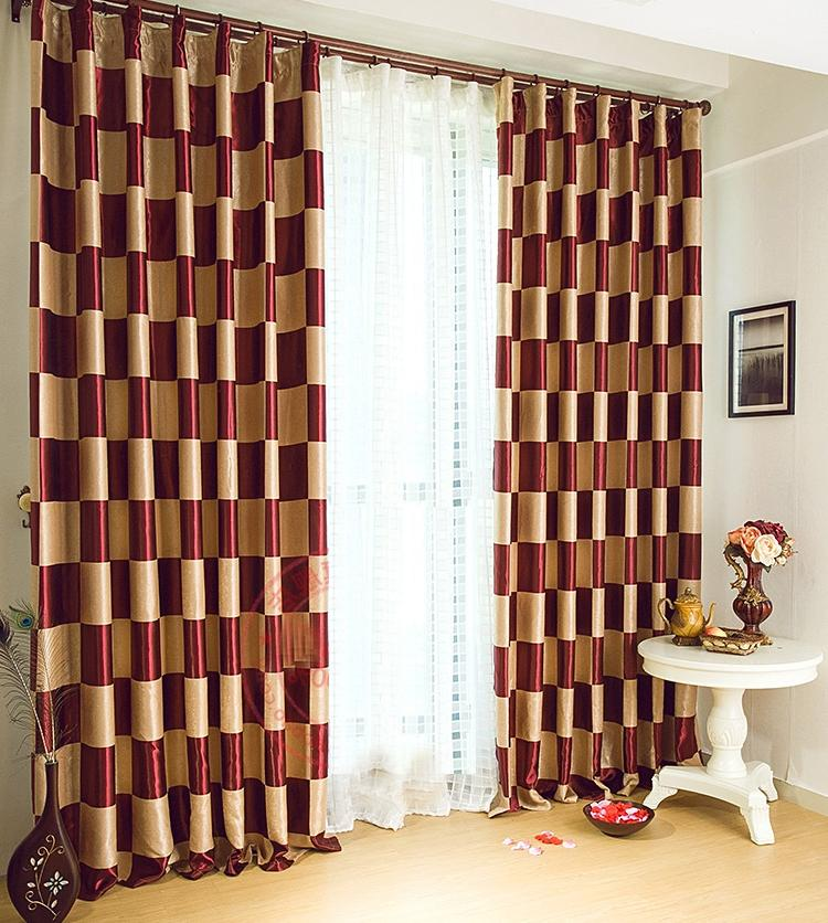 39% Graceful Burgundy Plaid Polyester Good Quality Curtains (Two...