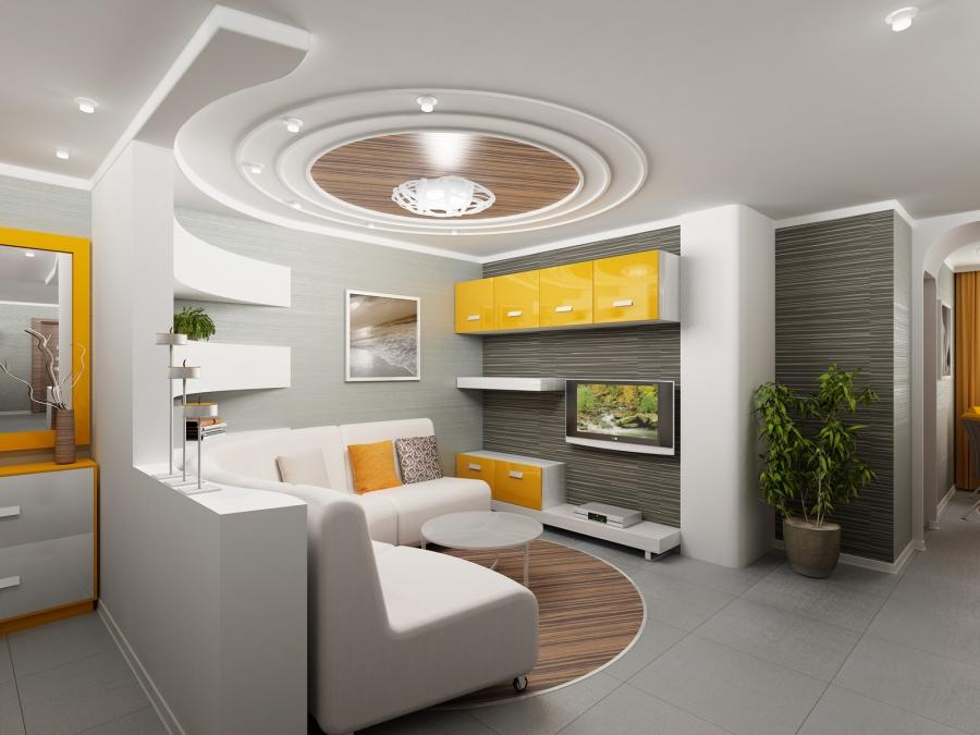 Modern round false ceiling designs for small modern living room