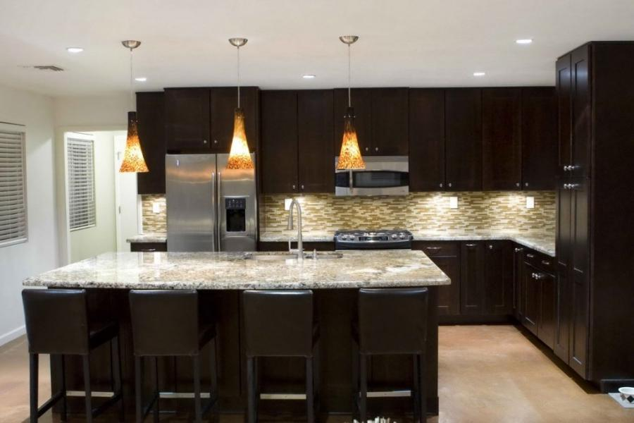 Black White Kitchen Cabinets Island And Bar Stools Set With...